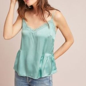NWT Anthropologie Laing Gathered Silk Lace Cami S